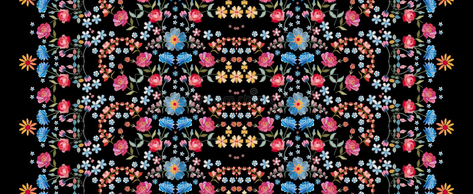 Embroidery seamless pattern. Beautiful vertical line with colorful summer flowers on black background. Embroidered print. stock illustration