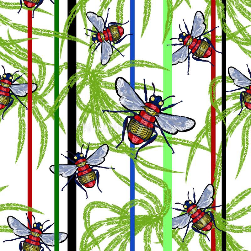 Embroidery seamless pattern with bees and tropical leaves. stock illustration
