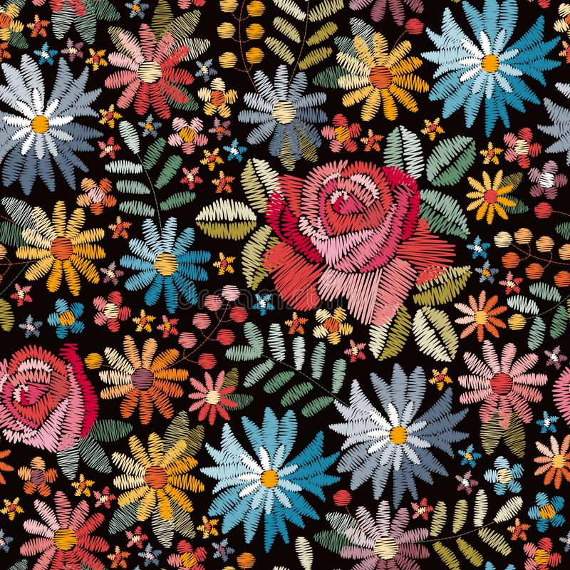 Embroidery seamless pattern with colorful flowers, leaves and berries on black background. Fashion design. For fabric, textile, wrapping paper. Fancywork print stock illustration