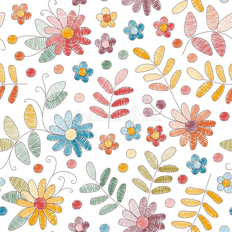 Embroidery seamless pattern with colorful flowers and leaves on white background. Fashion design for fabric, textile, wrapping. Paper. Fancywork print. Vector royalty free illustration