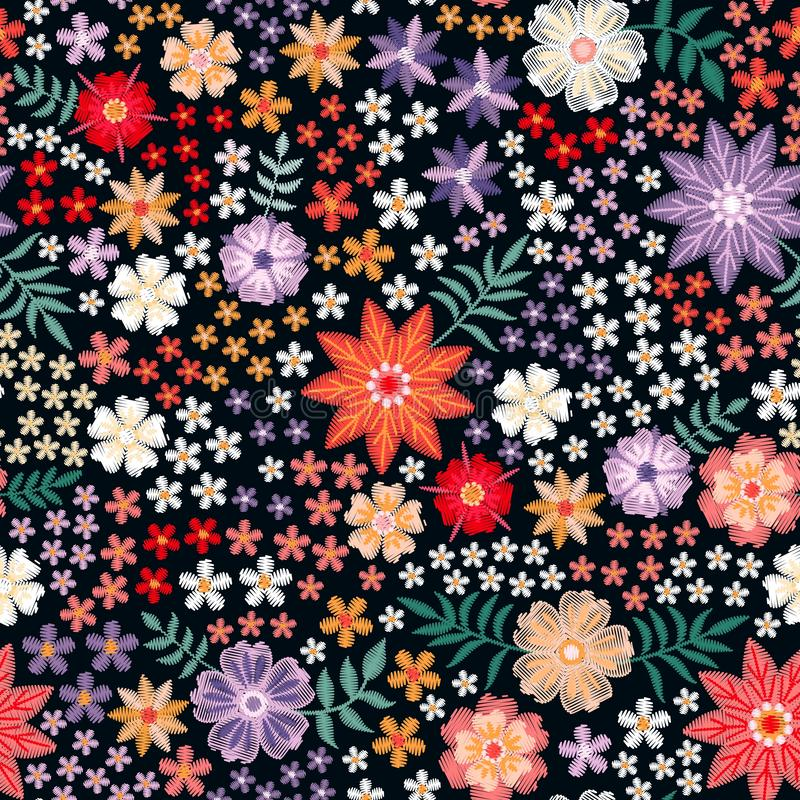 Embroidery seamless pattern from colorful flowers - red, yellow, white and violet blossom. Multicolor vector design. From embroidered elements stock illustration