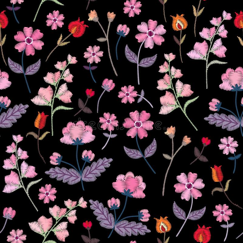 Embroidery seamless pattern with different wild flowers. Vector floral ornament on black background. Satin stitch stock illustration