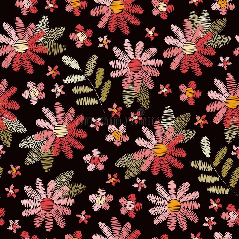 Embroidery seamless pattern with pink flowers and green leaves on black background. Romantic floral design for fabric vector illustration