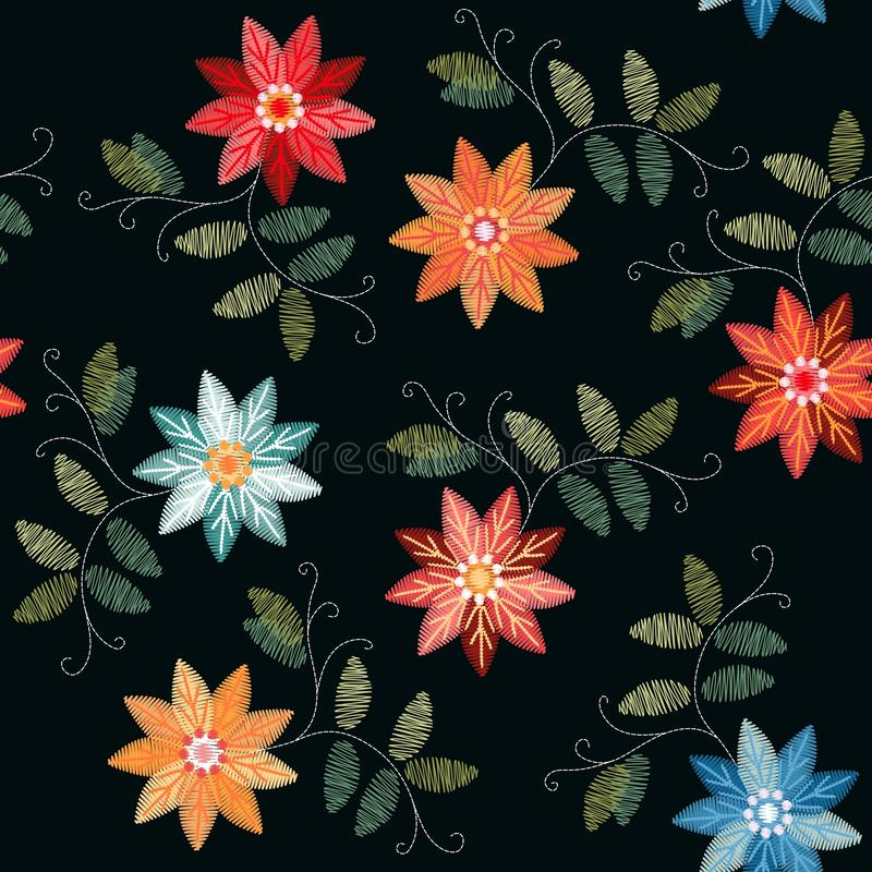Embroidery seamless patterns with bright colorful flowers and leaves on black background stock illustration