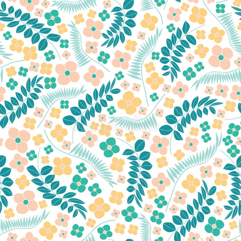 Embroidery seamless vector pattern with flowers and tropical leaves. Bright vector folk floral ornament on white background. royalty free illustration