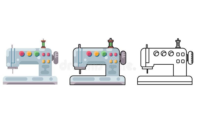 Embroidery sewing machine craft tool cloth sew flat design isolated icon vector illustration royalty free illustration