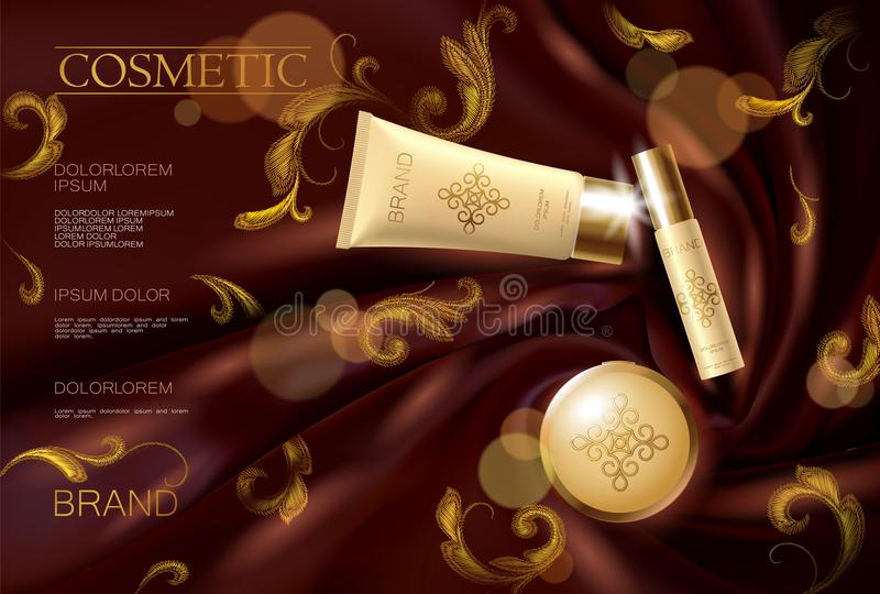 Embroidery silk cosmetic ad face woman makeup promotional poster template.Red drapery textile. Golden gold luxury royalty free illustration