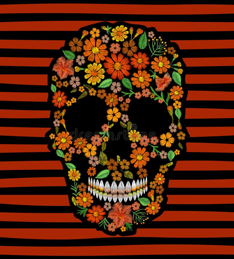 Embroidery skull face orange flower texture mexican patch. Textile print embroidered stitch. Dia de los Muertos Day of. The Dead or Halloween card vector royalty free illustration