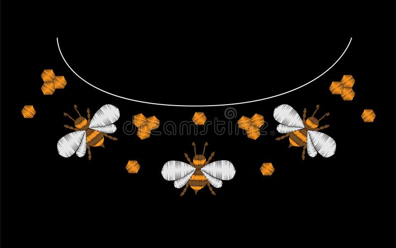 Embroidery Stitches Imitation With Bee Stock Vector Illustration