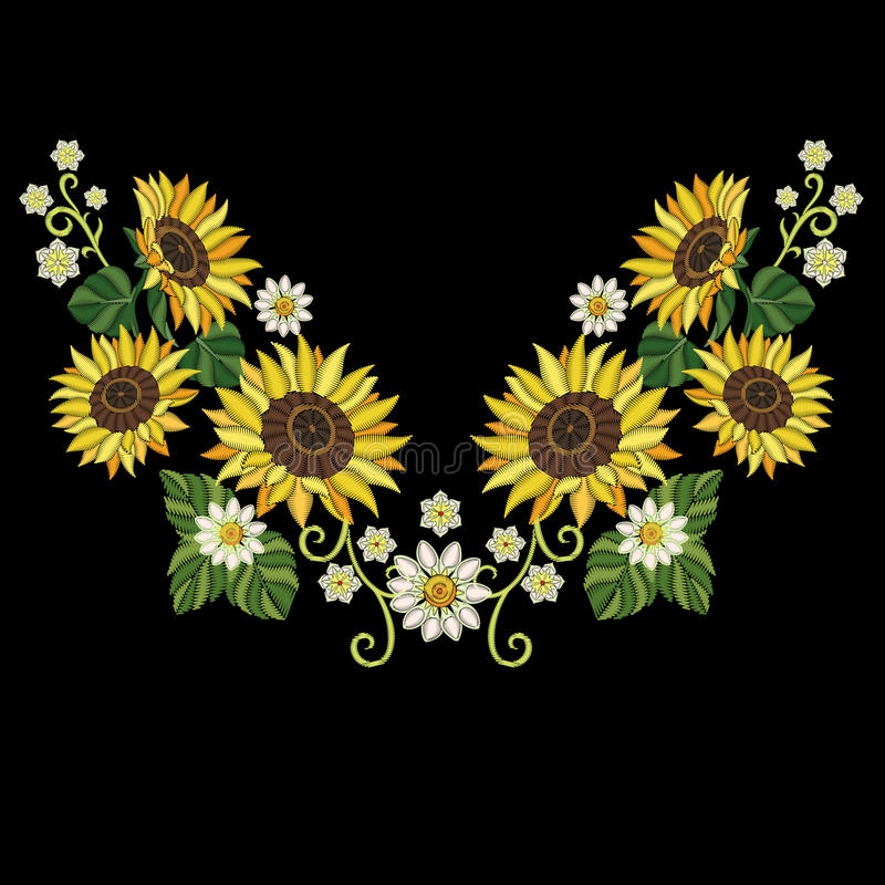 Embroidery sunflowers and daisy flowers stock photography