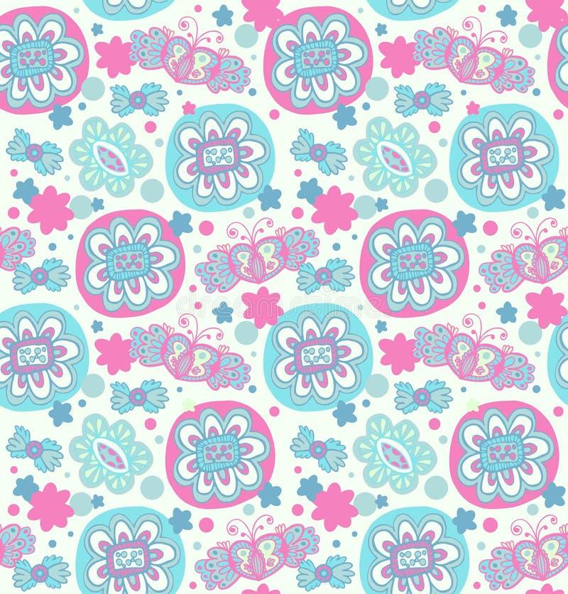 embroidery Teste padrão floral sem emenda decorativo Fundo retro com flores, corações e borboletas ilustração royalty free