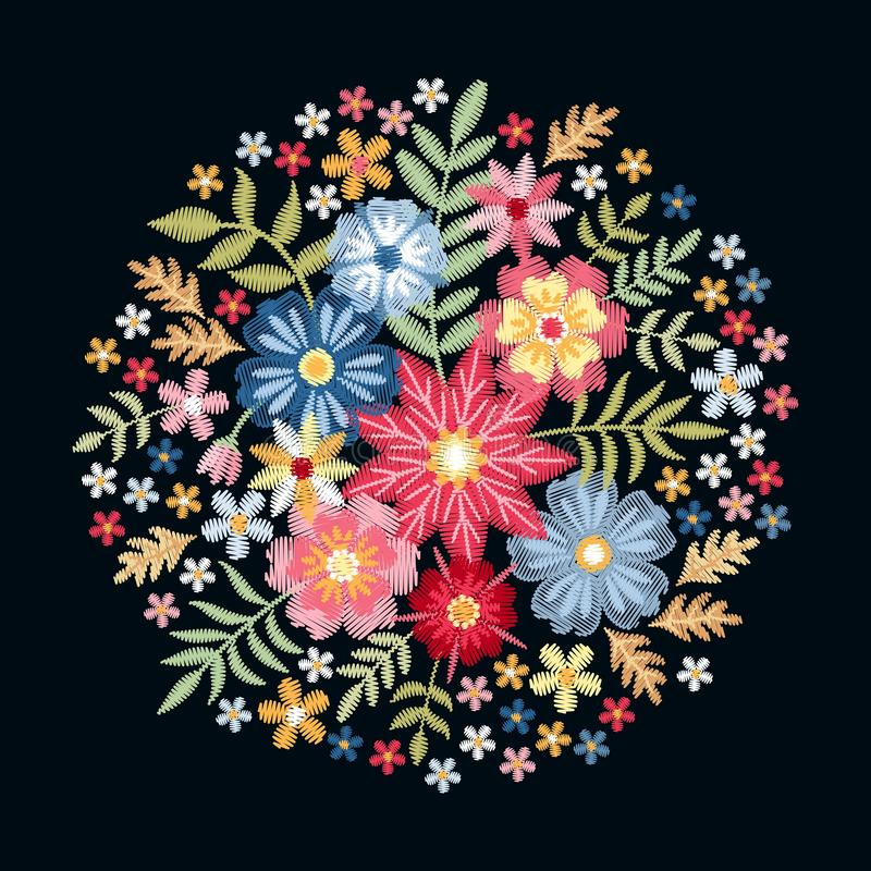 embroidery Teste padrão redondo com as flores selvagens e as folhas coloridas Composição floral do círculo bonito no fundo preto ilustração stock