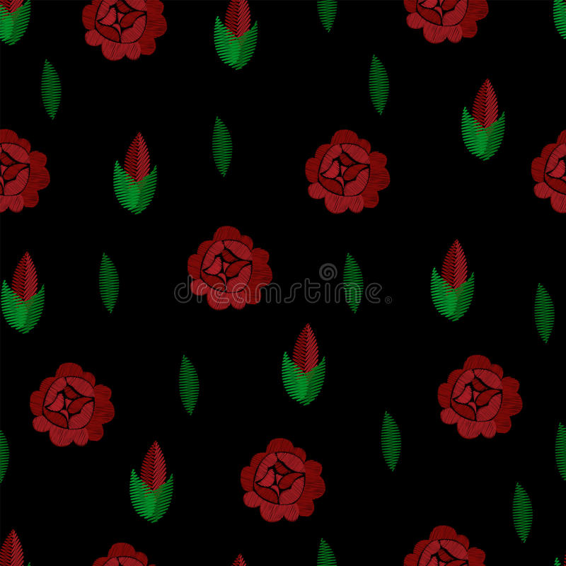 embroidery Teste padrão sem emenda Vetor Repetindo o fundo Rosas vermelhas no preto ilustração do vetor