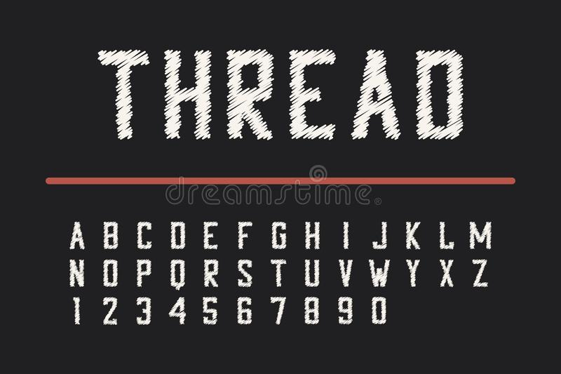 Embroidery thread font. Condensed bold typeface with numbers. Vector. Embroidery thread font. Condensed bold typeface with numbers. Vector illustration stock illustration