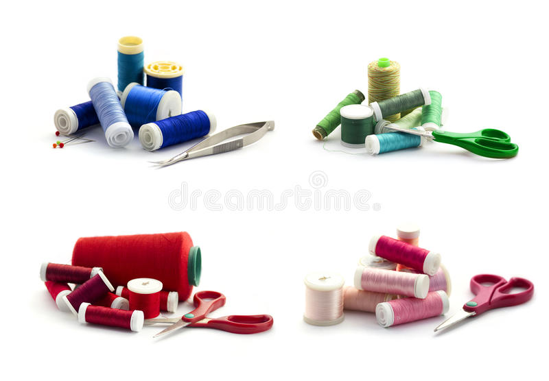 Embroidery threads isolated on white stock images