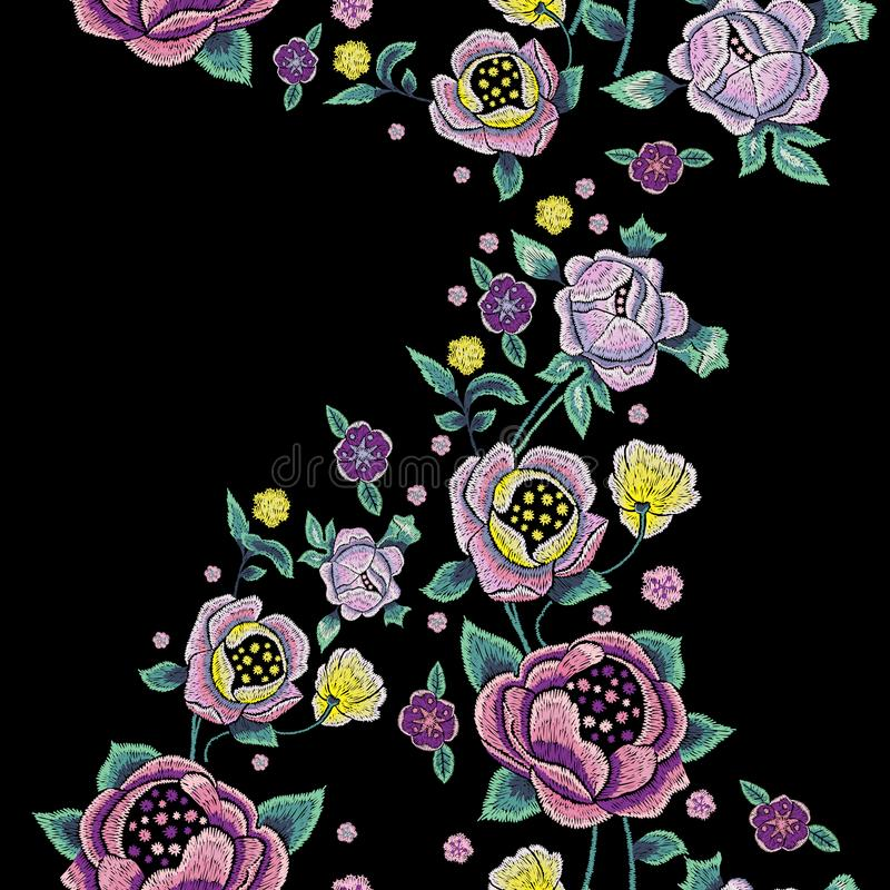 Embroidery traditional seamless pattern with pale roses. royalty free illustration
