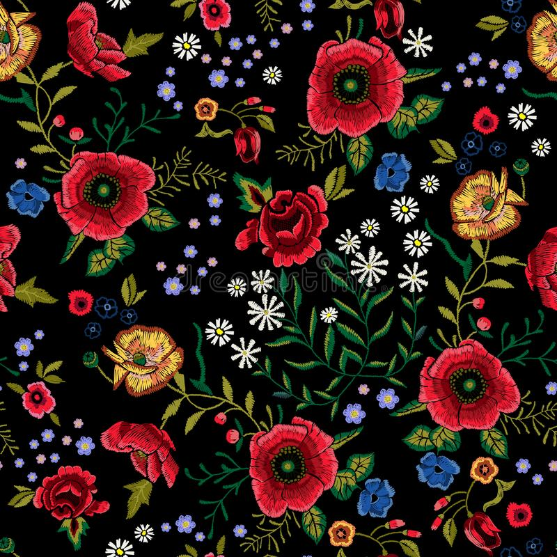 Embroidery traditional seamless pattern with red poppies and roses. stock illustration