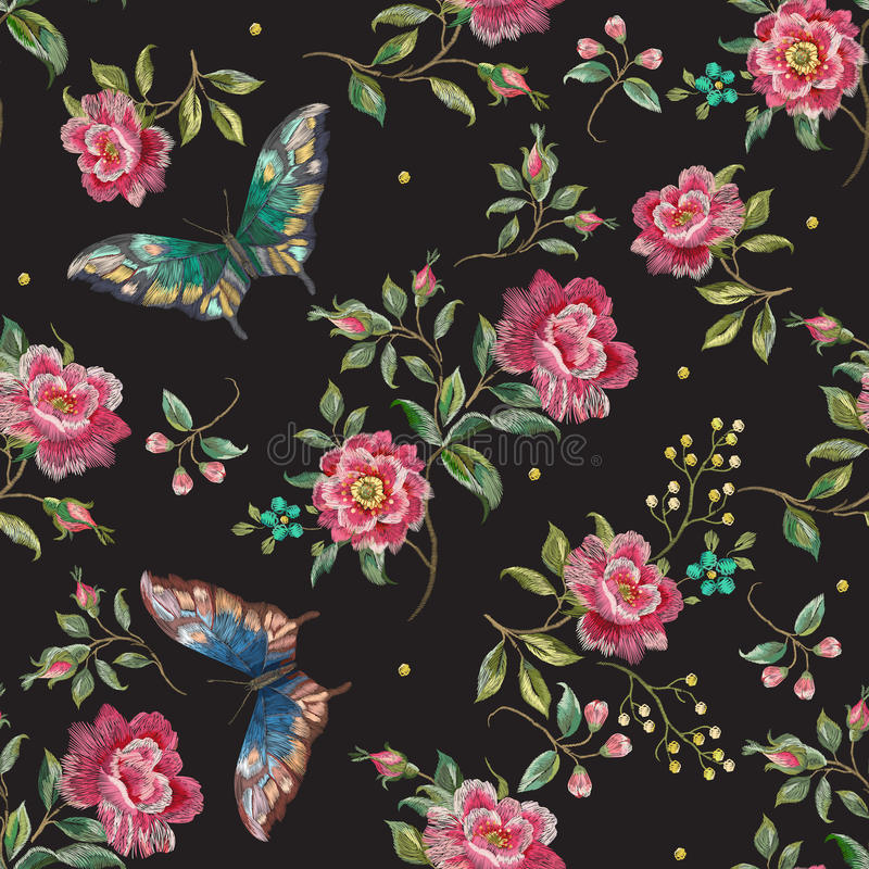 Embroidery trend floral seamless pattern with roses and butterfl royalty free illustration