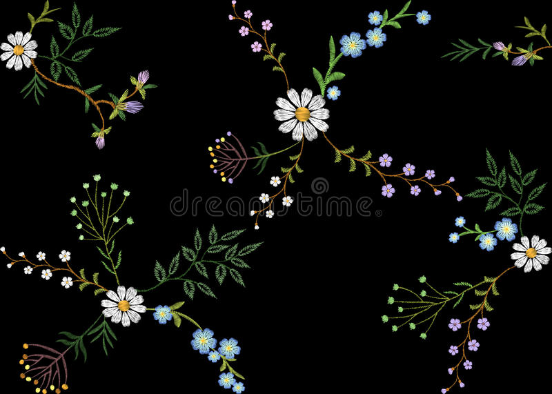 Embroidery trend floral seamless pattern small branches herb leaf with little blue violet flower daisy chamomile. Ornate royalty free illustration