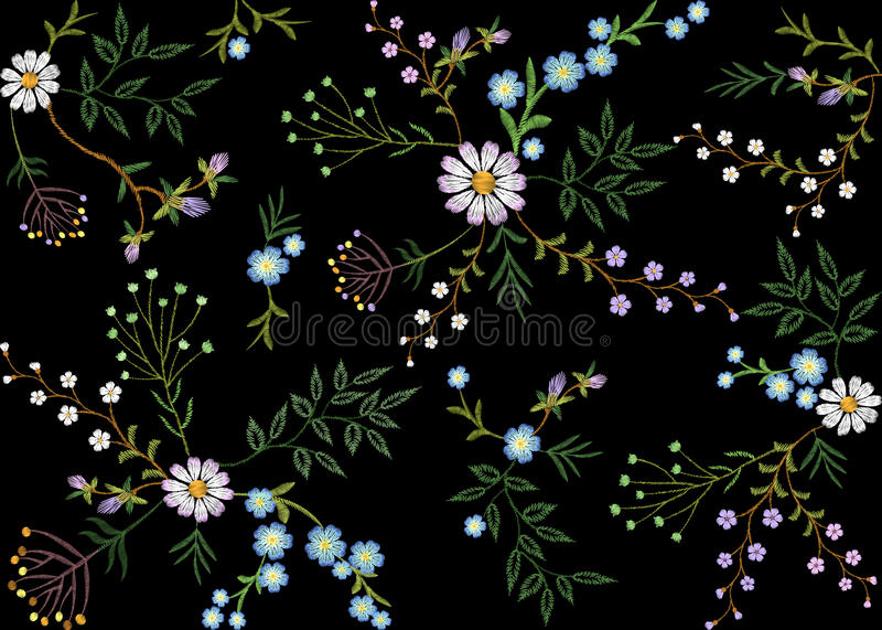 Embroidery trend floral seamless pattern small branches herb leaf with little blue violet flower daisy chamomile. Ornate. Traditional folk fashion patch design royalty free illustration
