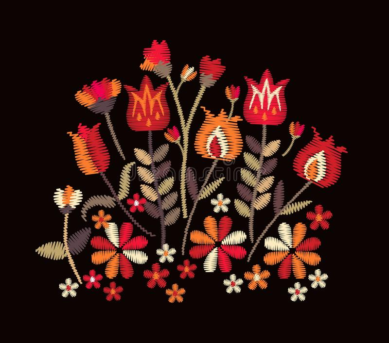 Embroidery with tribal motifs. Bright composition with flowers and leaves in folk style on black background. stock illustration