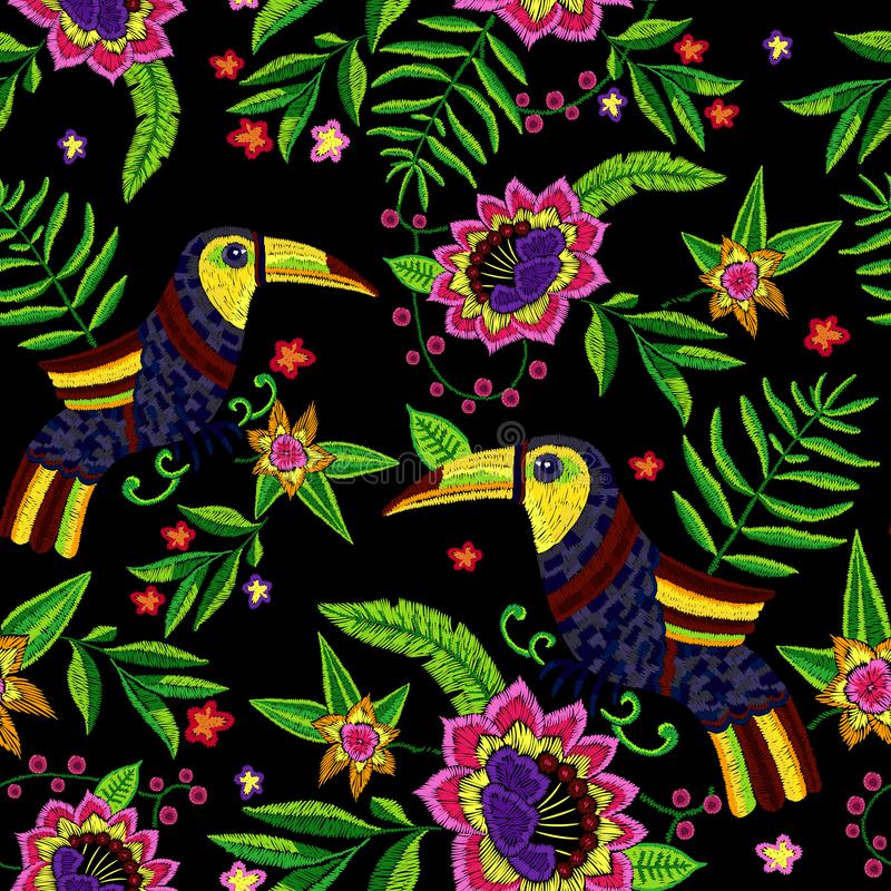 Embroidery tropical seamless pattern with exotic flowers and toucans. vector illustration