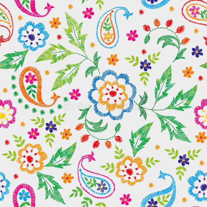 Embroidery vector seamless decorative floral pattern, ornament for textile decor. Bohemian handmade style background vector illustration