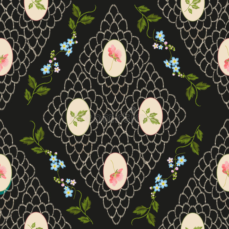 Embroidery vintage trend floral seamless pattern. royalty free illustration