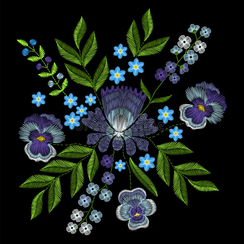 Embroidery With Violets Forget Me Not Flowers Vector Fashion O