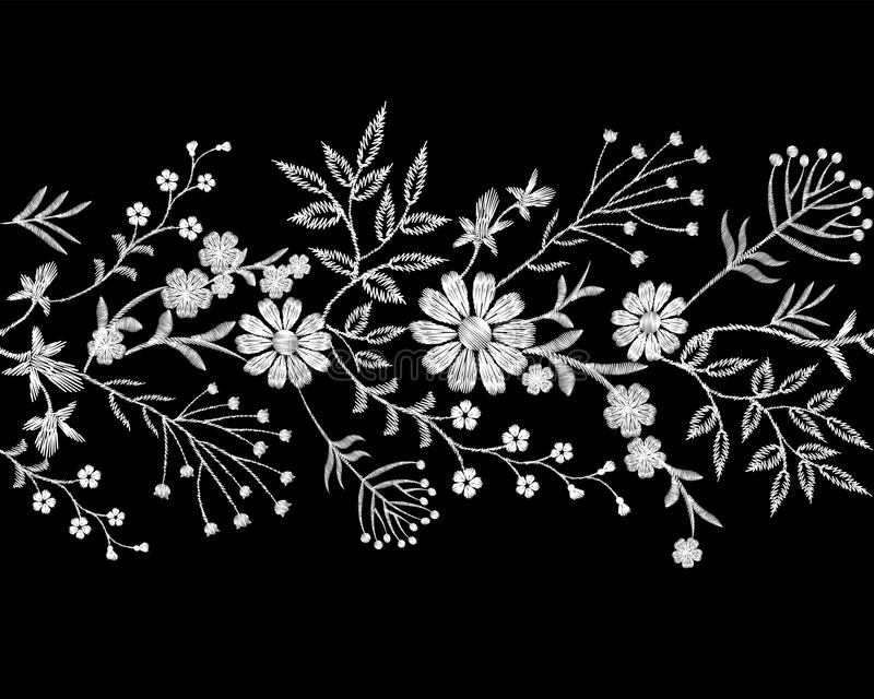Embroidery white lace border floral border small branches herb leaf with little blue violet flower daisy chamomile vector illustration