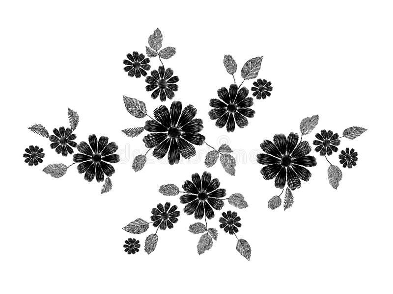 Embroidery white lace floral pattern small branches wild herb with little blue violet field flower. Ornate traditional. Folk fashion patch design black vector illustration