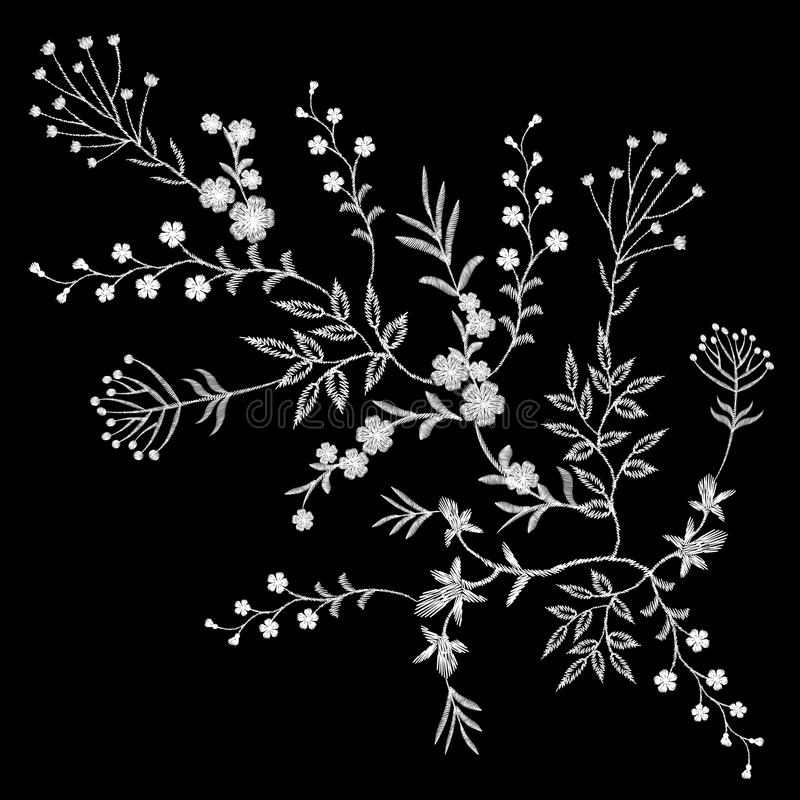 Embroidery white lace floral pattern small branches wild herb with little blue violet field flower. Ornate traditional folk fashio. N patch design black stock illustration