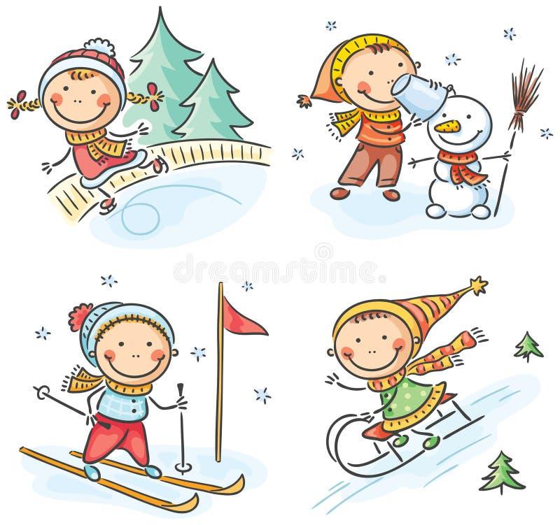 Embroma actividades del invierno al aire libre stock de ilustración