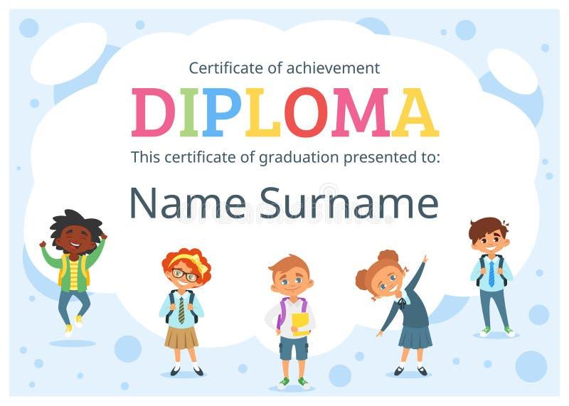 Embroma el certificado del diploma para el preescolar stock de ilustración