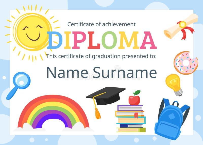 Embroma el certificado del diploma para el preescolar libre illustration
