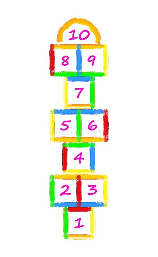 Embroma el ejemplo con el juego de las rayuelas de los movimientos del cepillo Juego de la calle de los niños Vector EPS-10 stock de ilustración