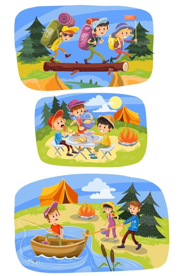 Embroma el ejemplo de la historieta del vector del verano que acampa de niños en caminar aventura, comida campestre o la pesca al ilustración del vector