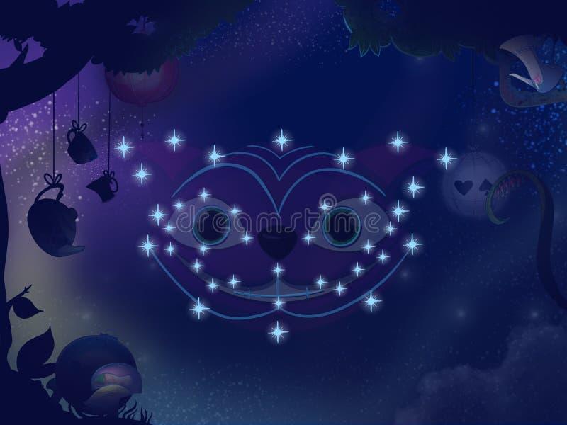 Embroma el ejemplo de libro Constelación del gato de Cheshire ilustración del vector