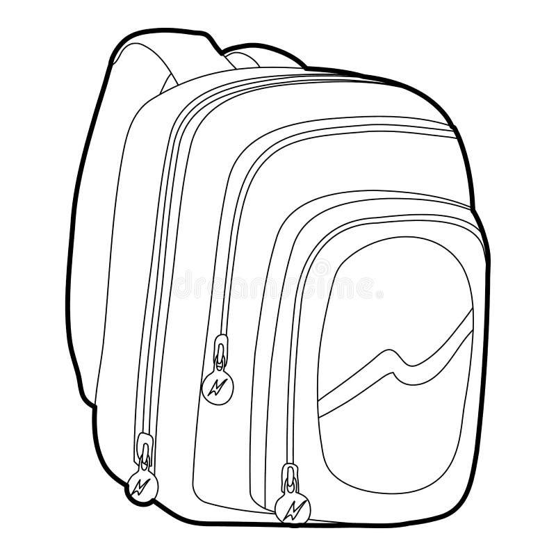 Embroma el esquema del icono del bolso de escuela stock de ilustración