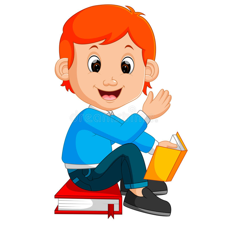 Embroma el libro de lectura del muchacho ilustración del vector