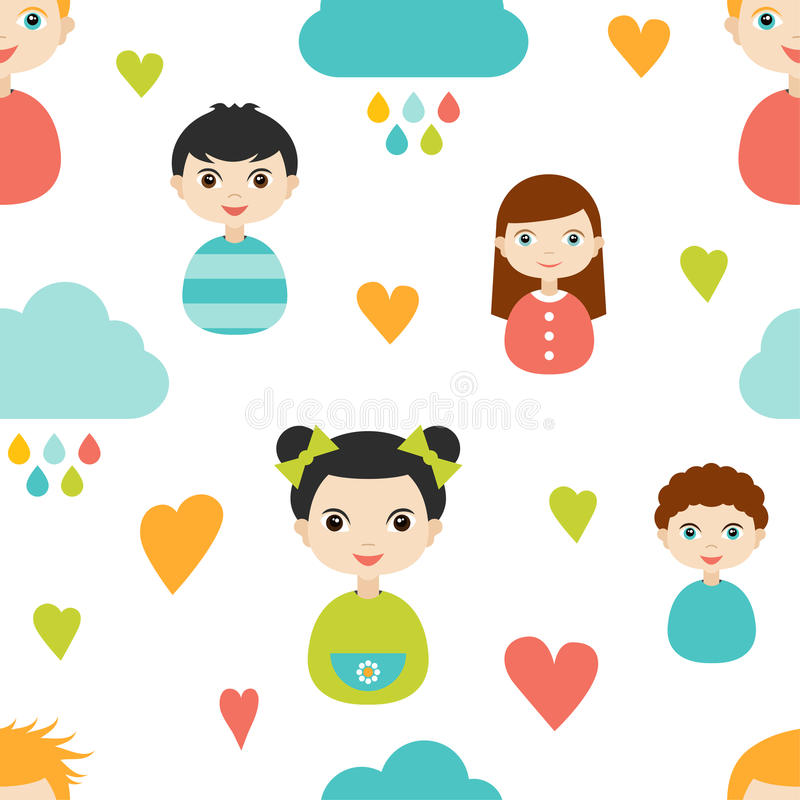 Embroma el modelo del papel de empapelar Coloree las caras sonrientes de los niños con el corazón y las nubes libre illustration