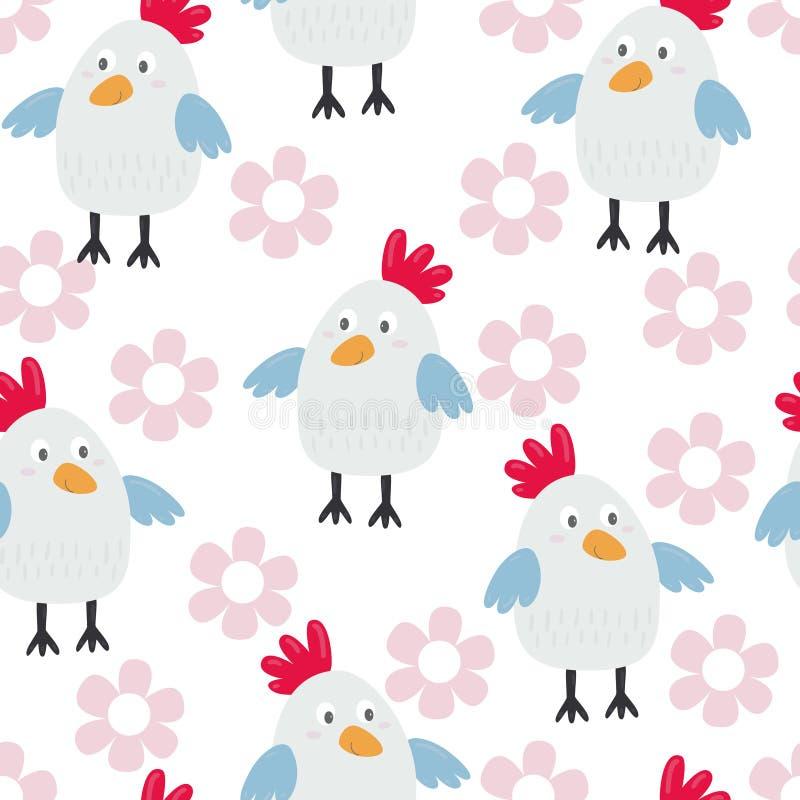 Embroma el modelo inconsútil con los pollos Ilustración del vector ilustración del vector