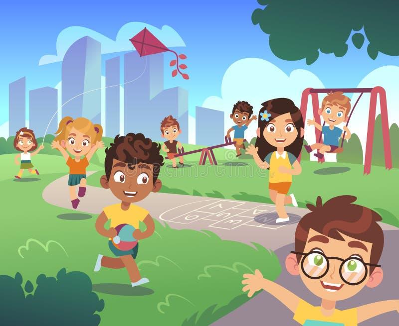 Embroma el patio Niño preescolar al aire libre de la naturaleza de los niños del juego que juega el fondo de la historieta del en stock de ilustración