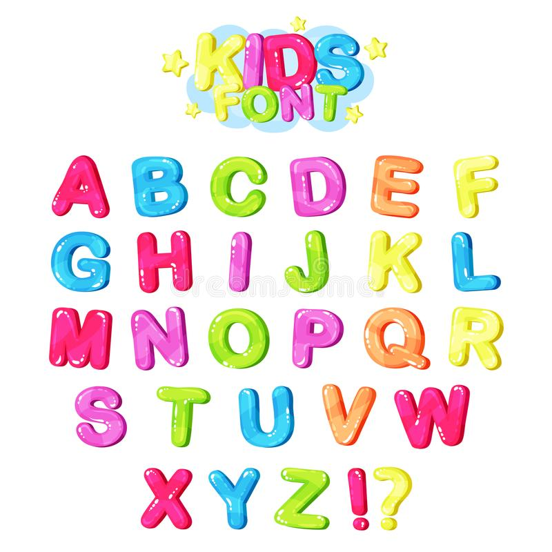 Embroma la fuente, letras brillantes multicoloras del alfabeto inglés y el ejemplo del vector de los símbolos de puntuación fotografía de archivo libre de regalías
