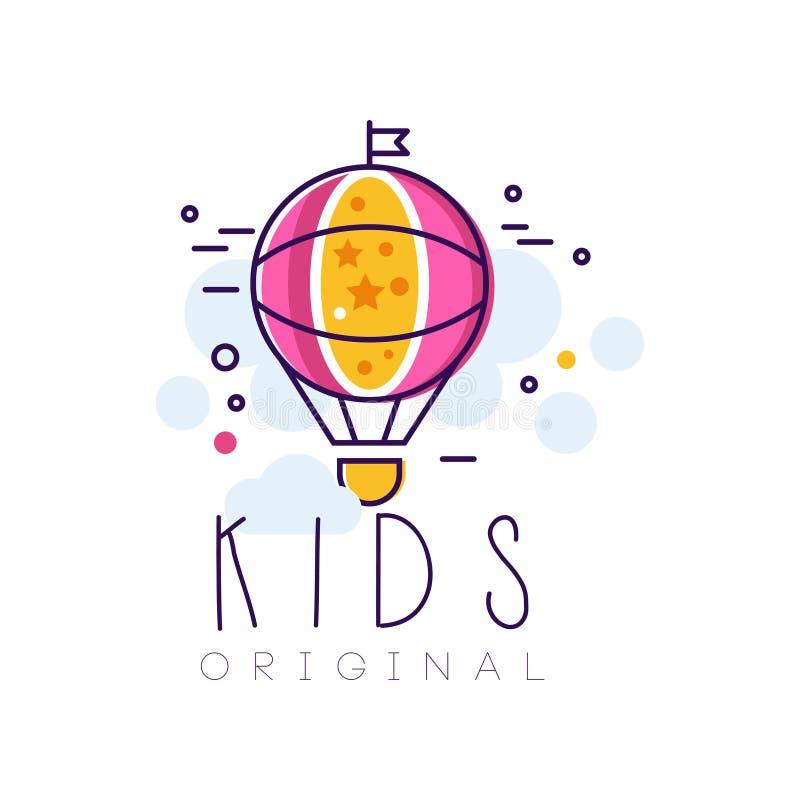 Embroma la plantilla creativa original, elemento del diseño con el ejemplo dibujado mano del vector del balón de aire aislado en  ilustración del vector