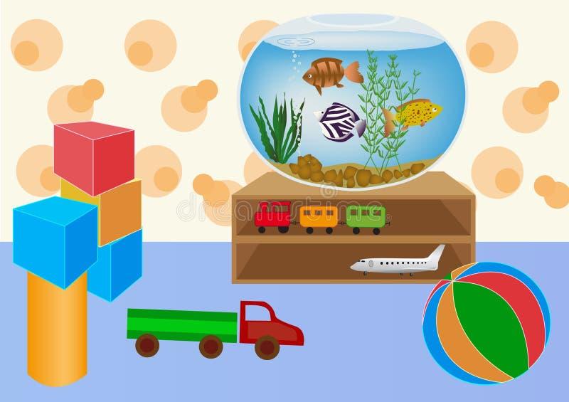 Embroma la sala de juegos con los juguetes stock de ilustración