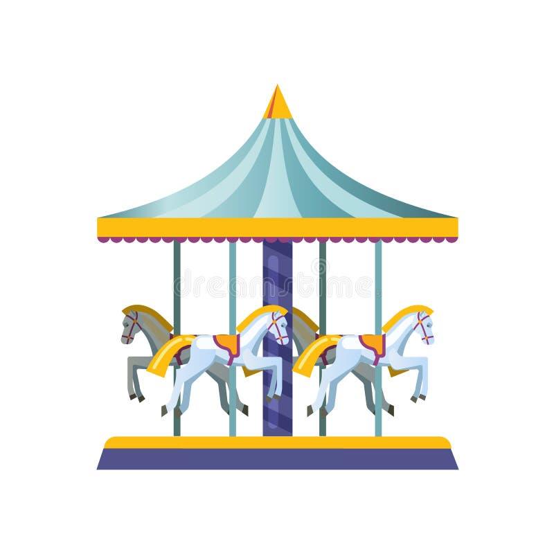 Embroma los carruseles, oscilaciones, en forma una atracción con los caballos de montar a caballo stock de ilustración