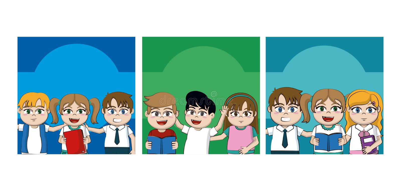 Embroma tarjetas de las historietas de los estudiantes ilustración del vector