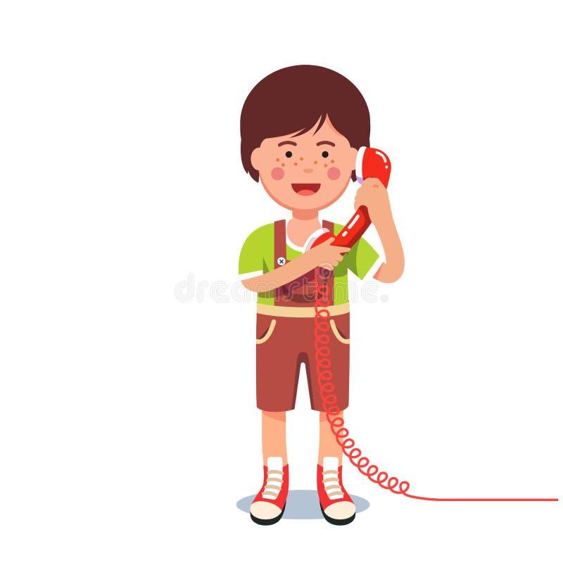 Embrome al muchacho que habla en un teléfono atado con alambre retro stock de ilustración