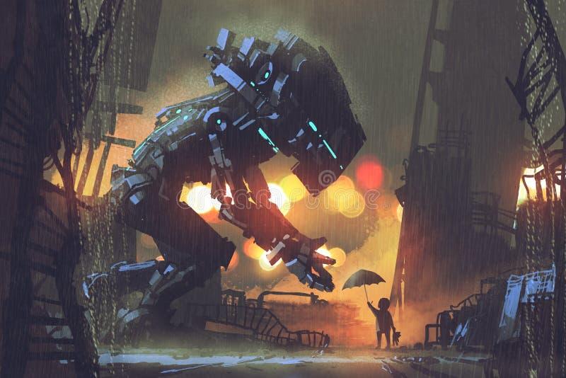 Embrome el donante del paraguas al robot gigante en la noche lluviosa ilustración del vector